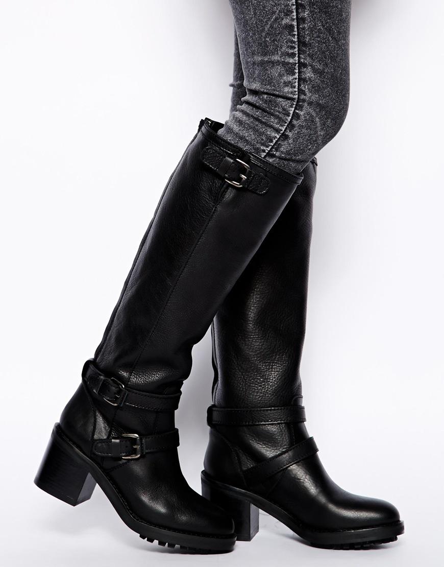 d2f5d0848de Lyst - Mango Knee High Biker Boots in Black