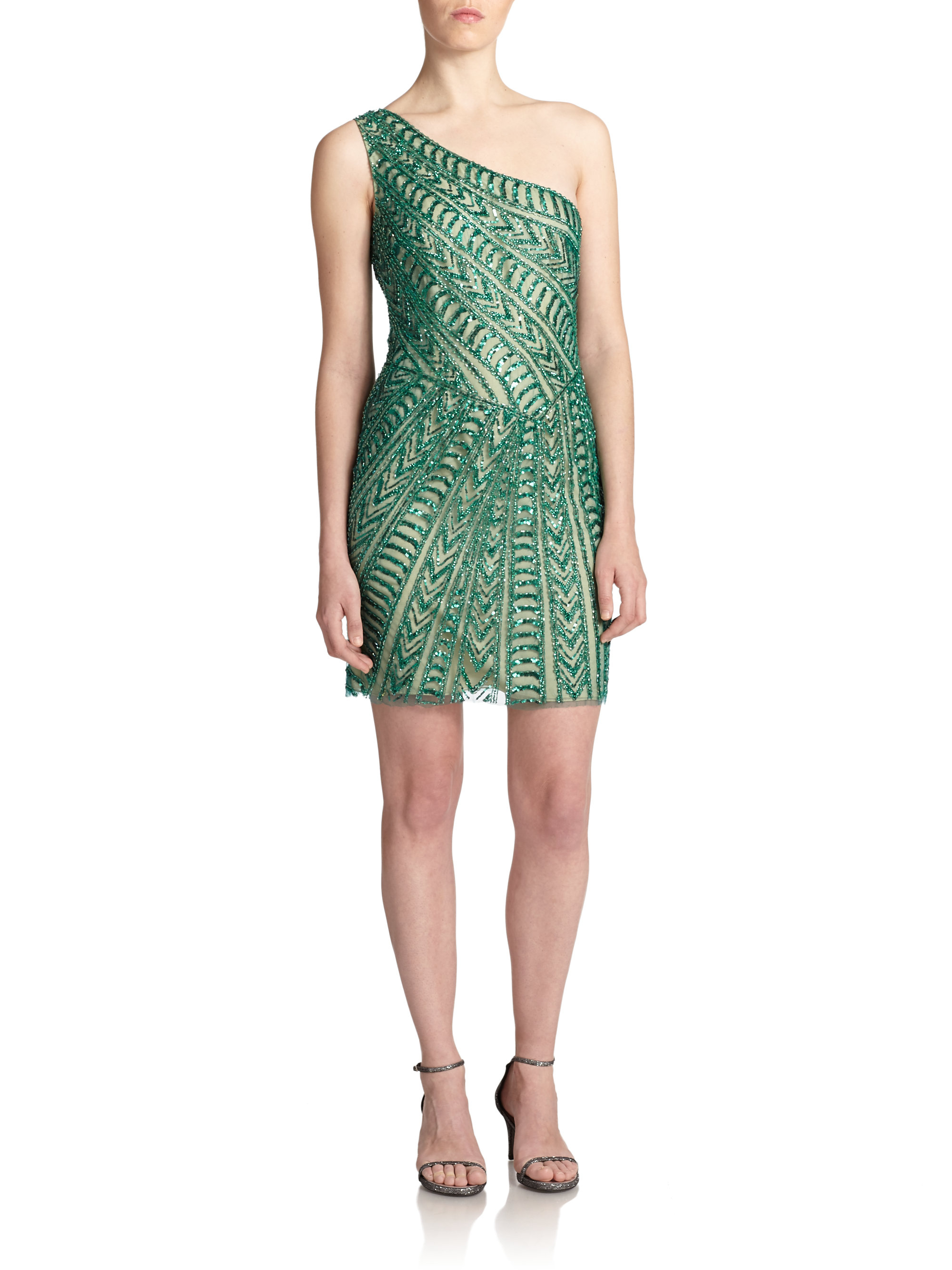 Green Sequin One Shoulder Dress
