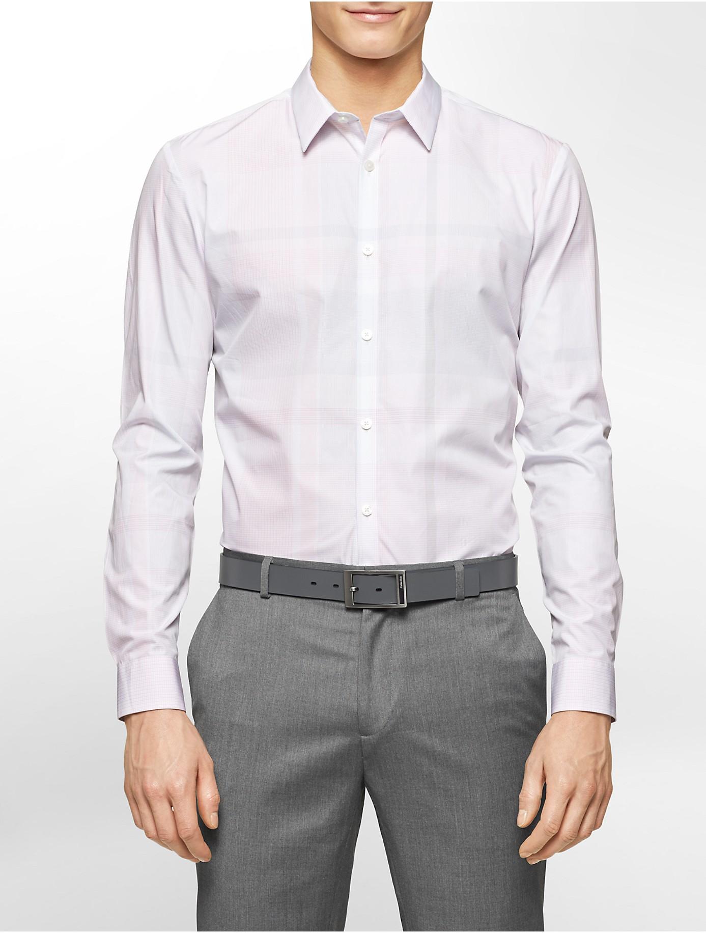 Calvin Klein White Label Premium Slim Fit Plaid Shirt In