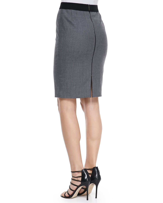 elie tahari bennet stretch flannel pencil skirt in gray lyst