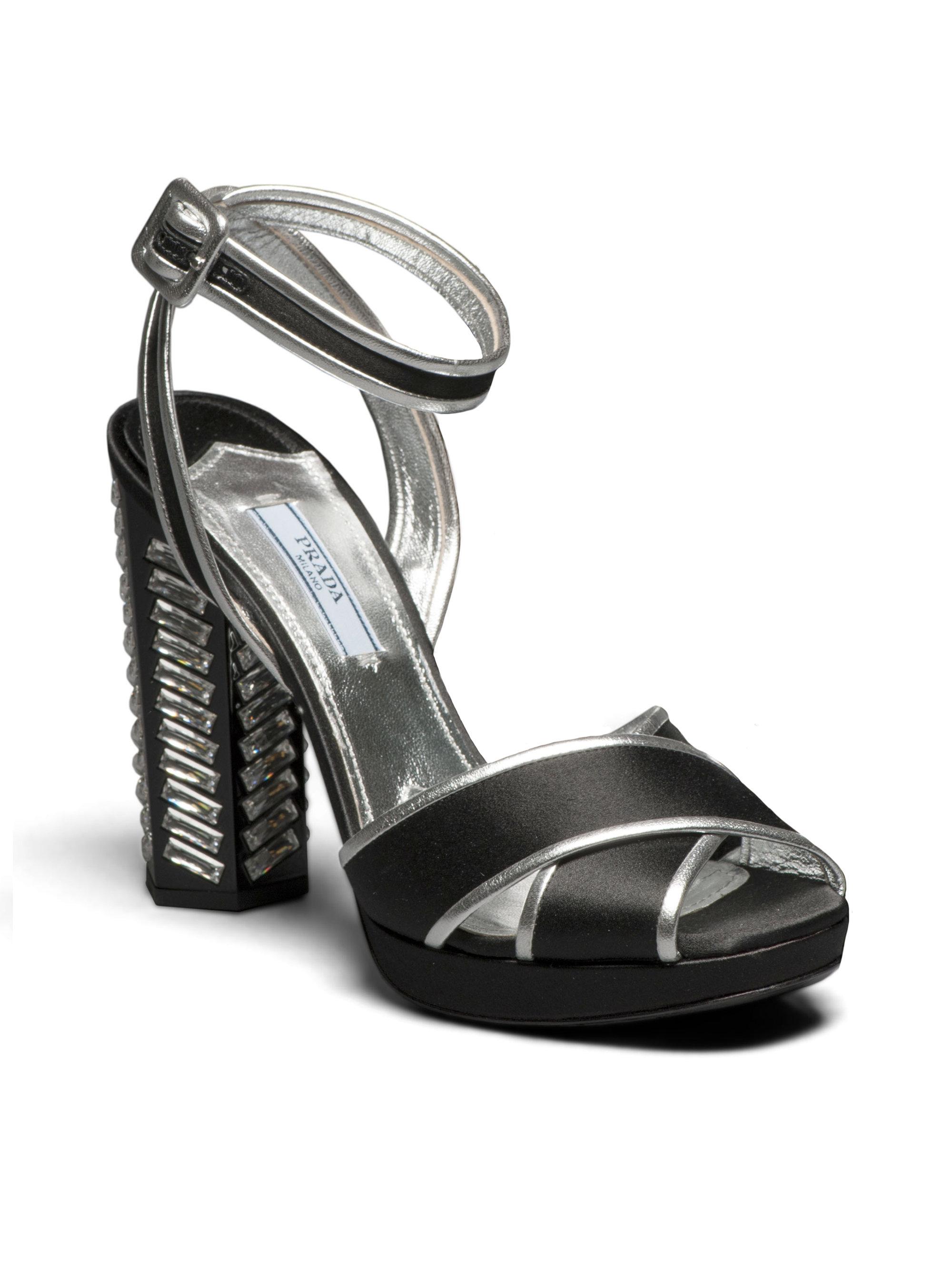 Prada Black Crystal Slingback Heels 7Aj4aFcI