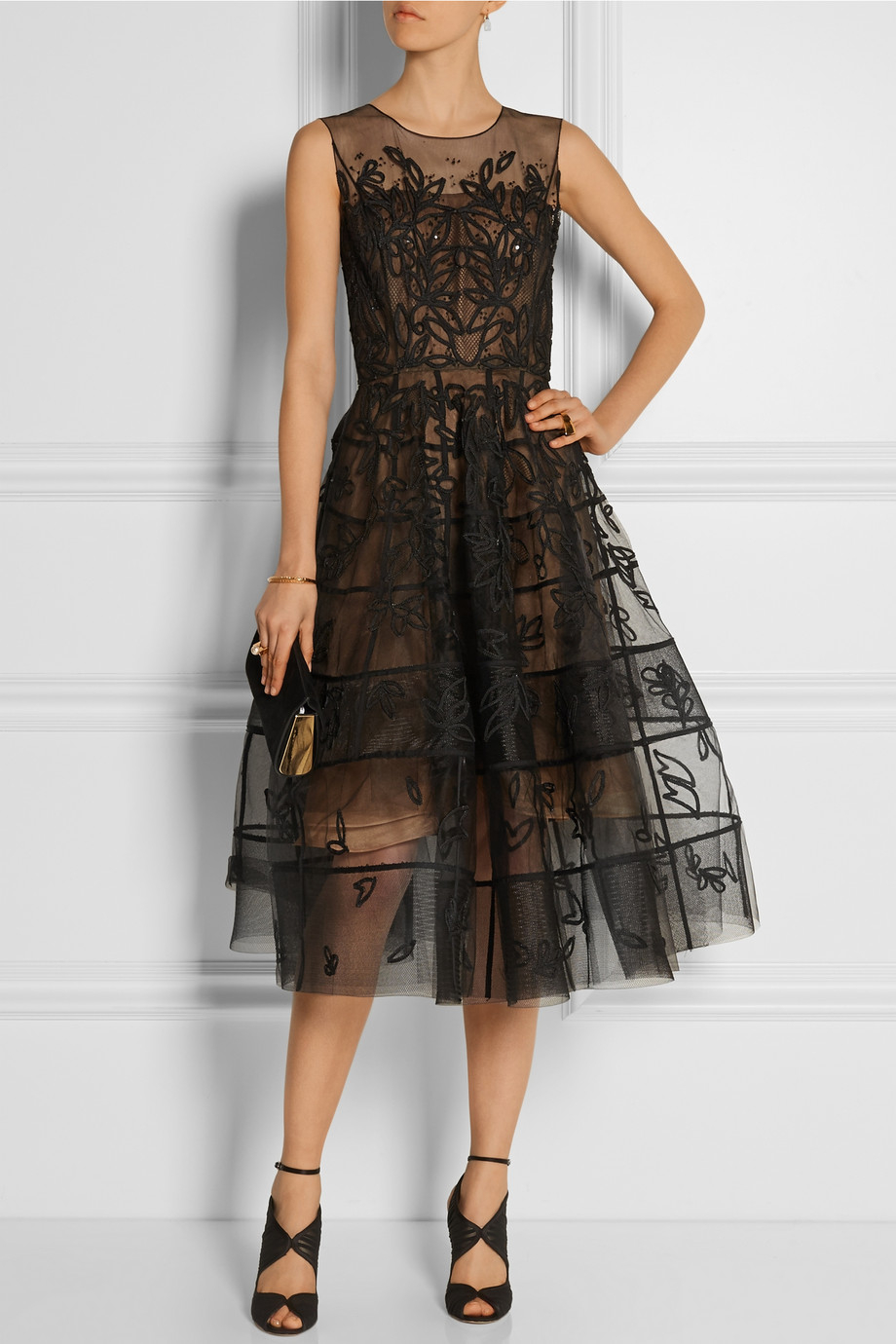 Lyst Oscar De La Renta Appliqud Tulle Midi Dress In Black