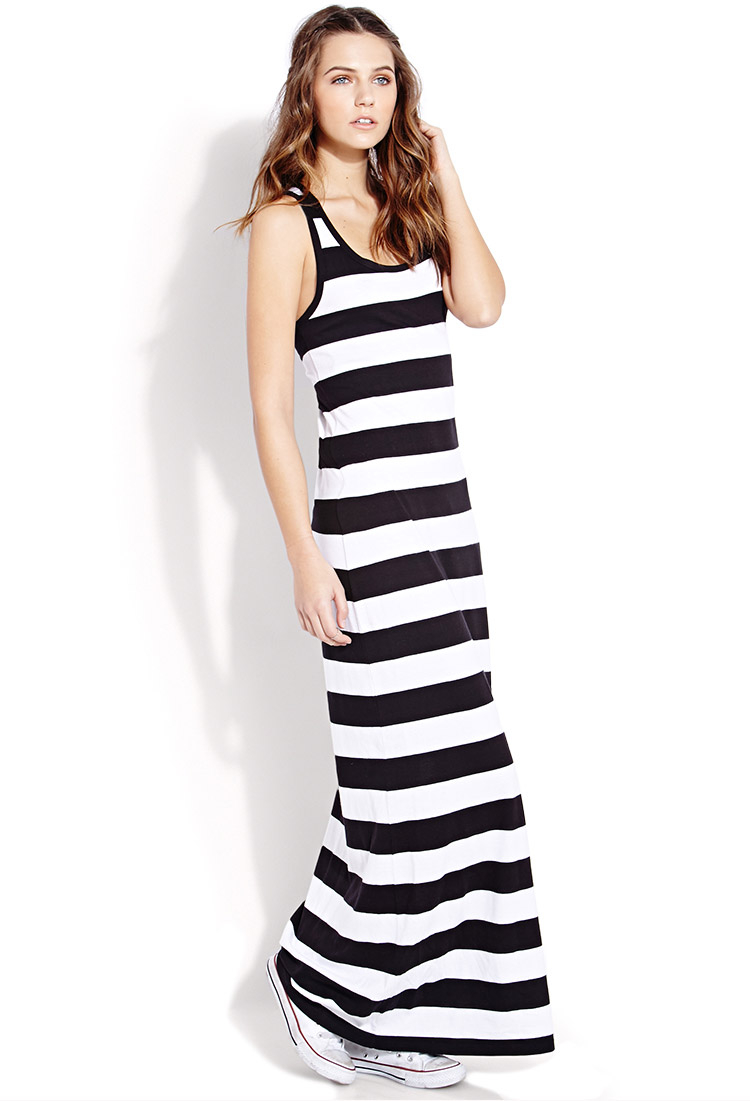 forever 21 out to sea striped maxi dress in black lyst