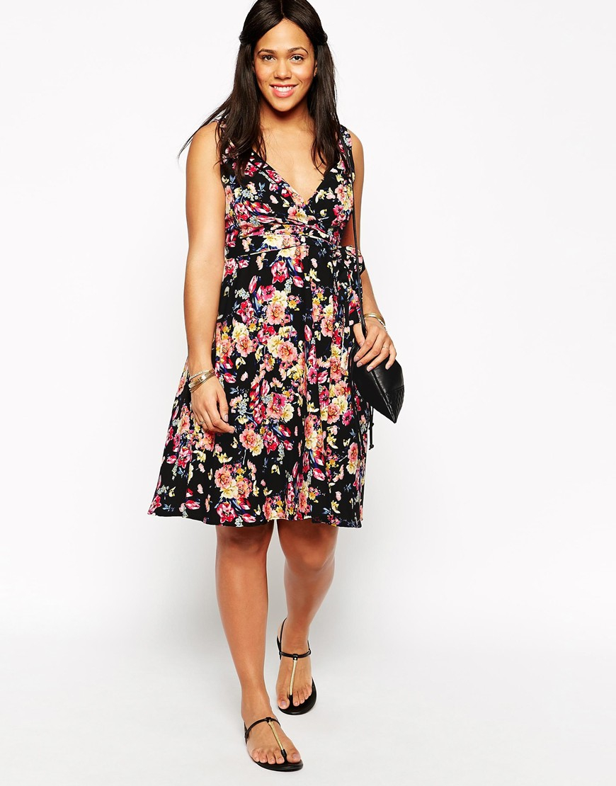 Lyst Diya Plus Size Black Floral Retro Dress In Pink