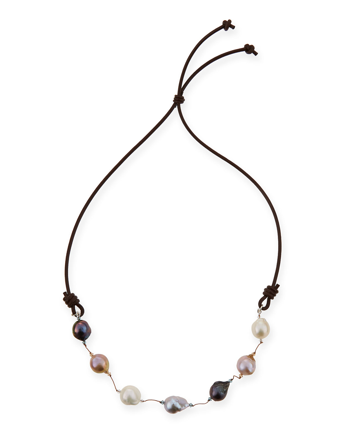 Margo Morrison Baroque Pearl Lariat Necklace, Black