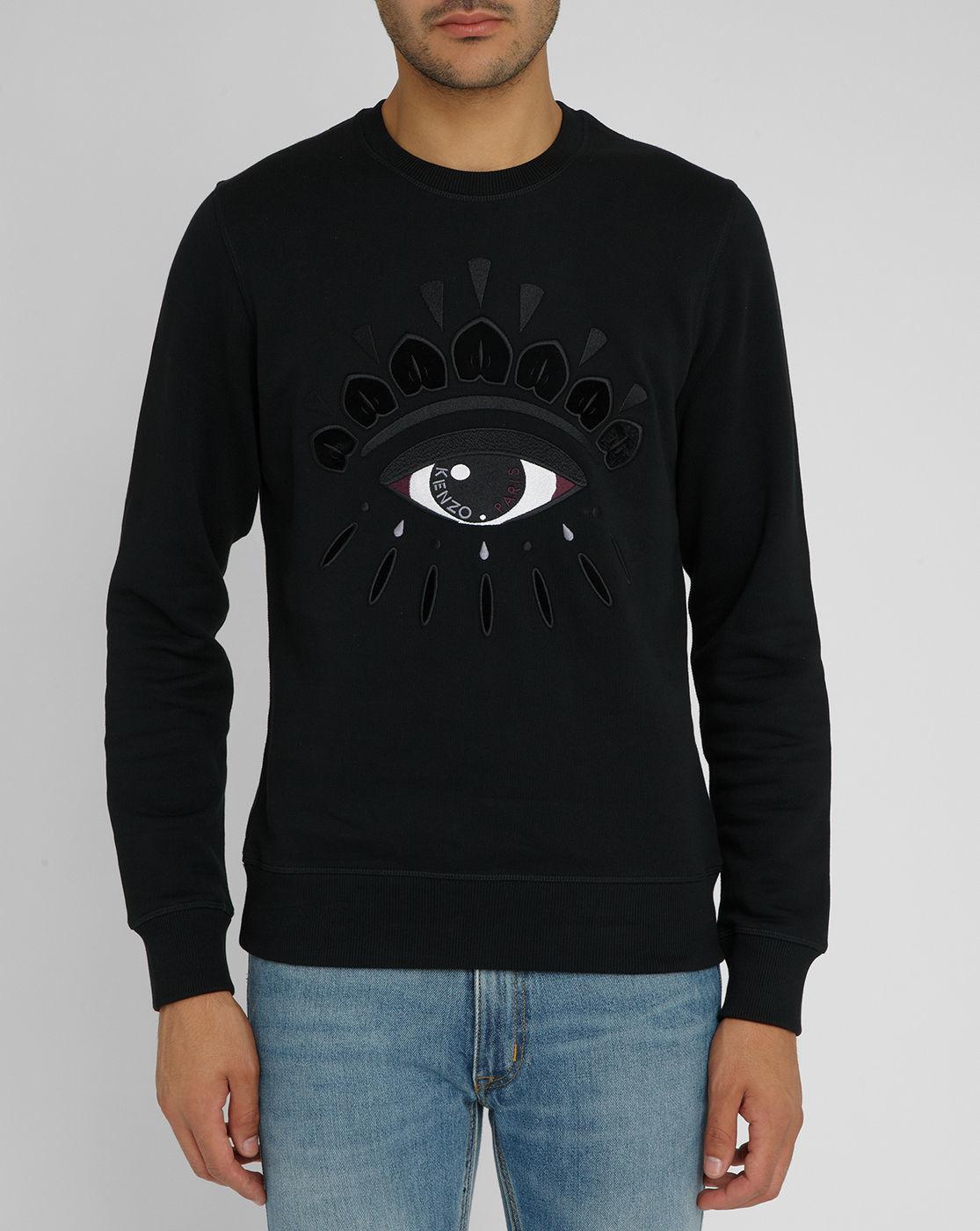 Kenzo Black Eye Logo Round neck Sweatshirt In For
