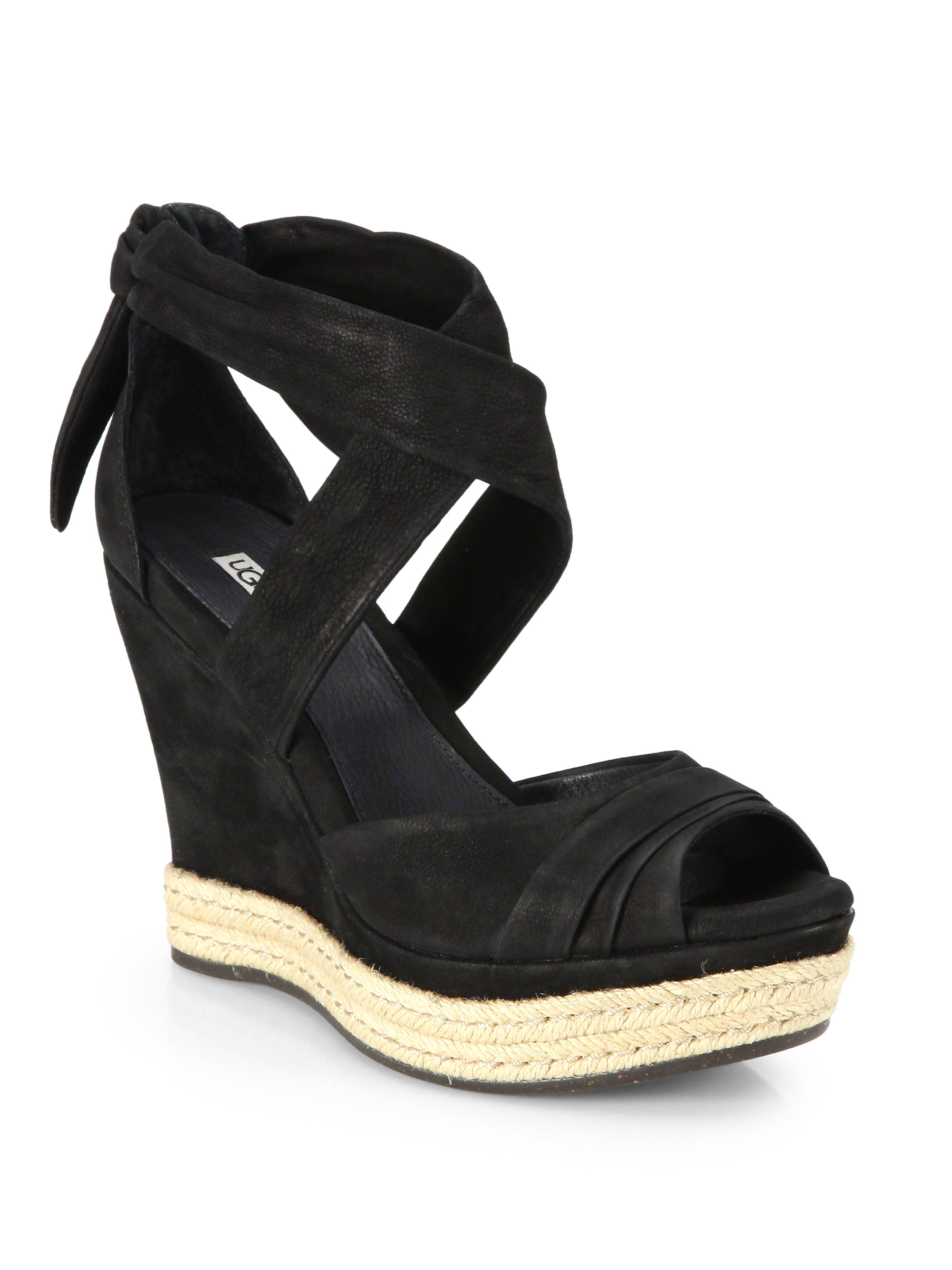 589e655dae6 Lyst - UGG Lucy Suede Tie-Up Wedge Sandals in Black