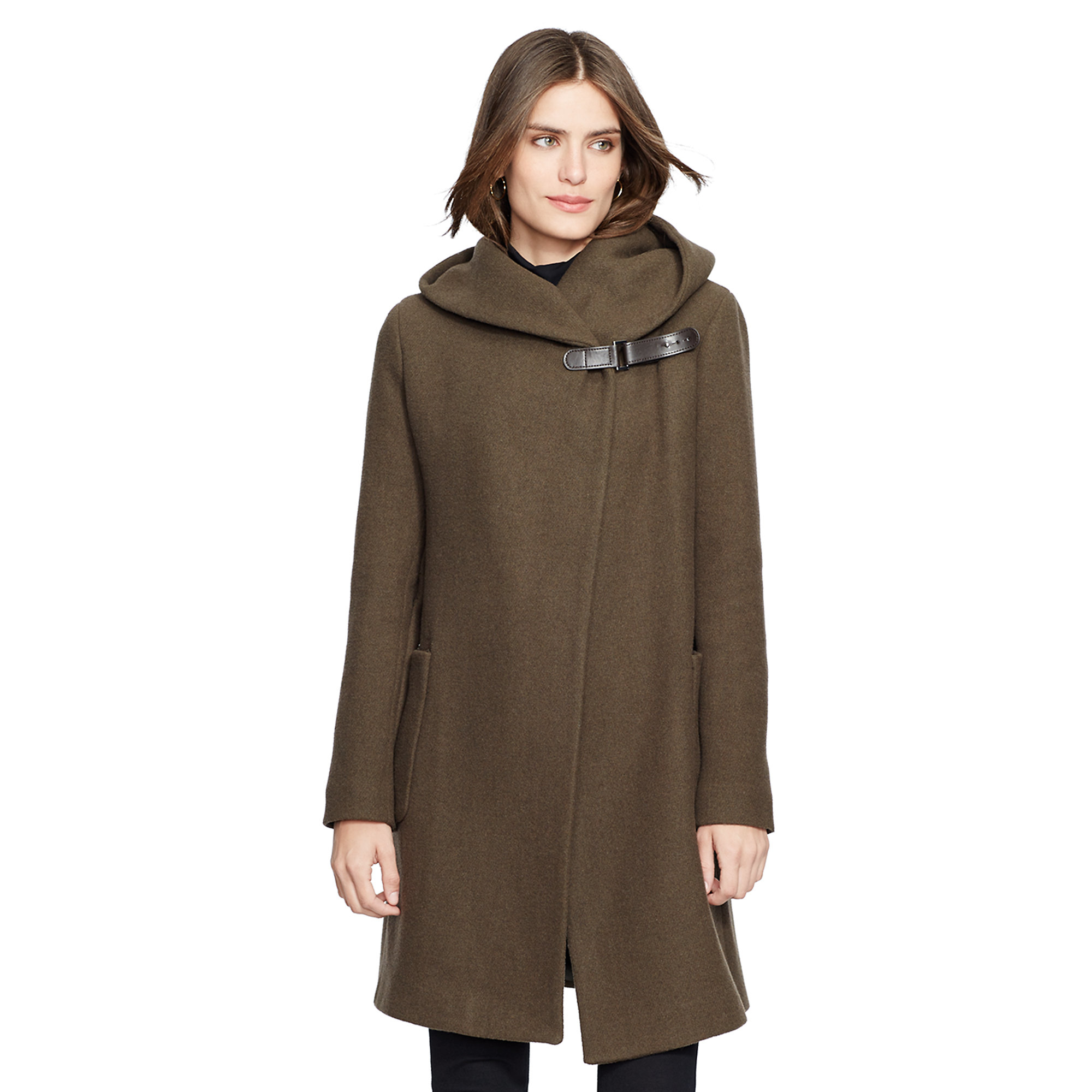 Ralph lauren Wool-blend Hooded Coat in Brown | Lyst