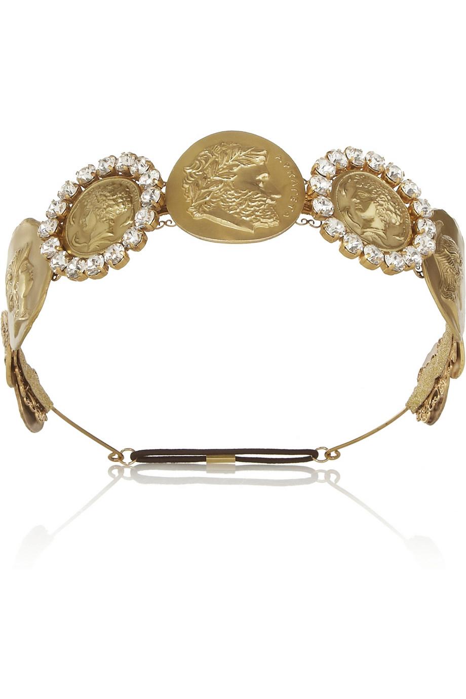 Dolce   Gabbana Gold-Tone Swarovski Crystal Coin Headband in ... 699ae163dfd