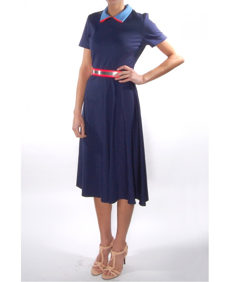 roksanda mabyn dress with coral belt in blue coral lyst