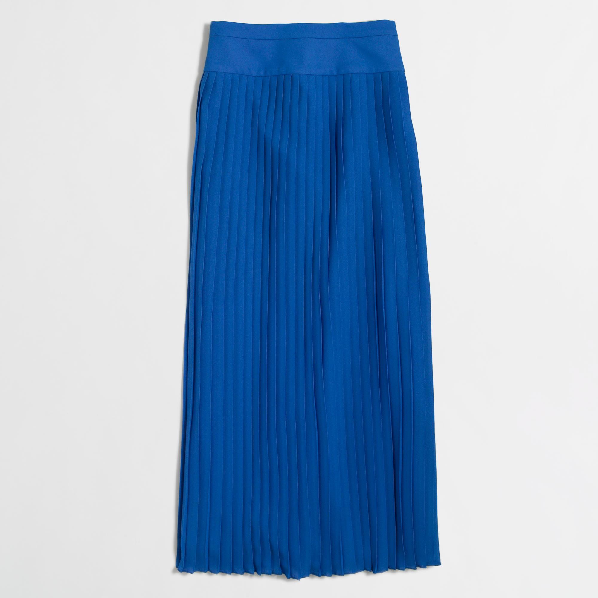 j crew factory pleated midi skirt in blue lyst