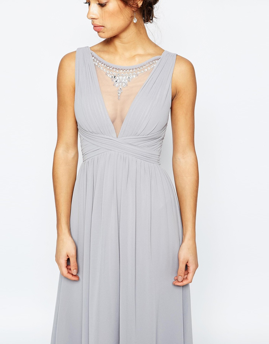 Lyst little mistress maxi dress with embellished mesh for Wearing a maxi dress to a wedding