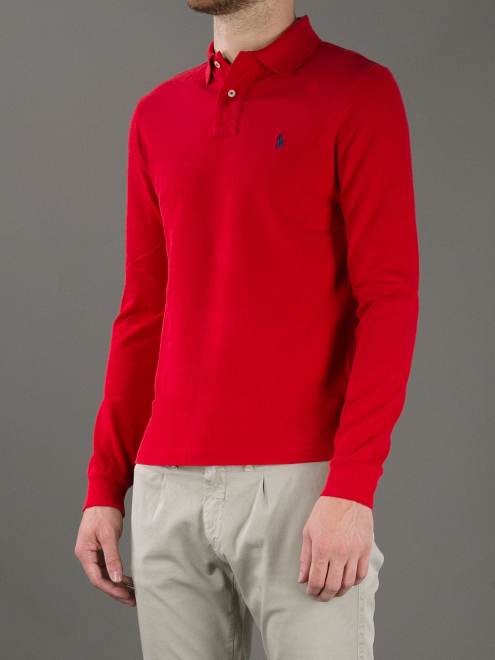 Lyst - Polo Ralph Lauren Long Sleeve Polo Shirt in Red for Men 46014efe9b01