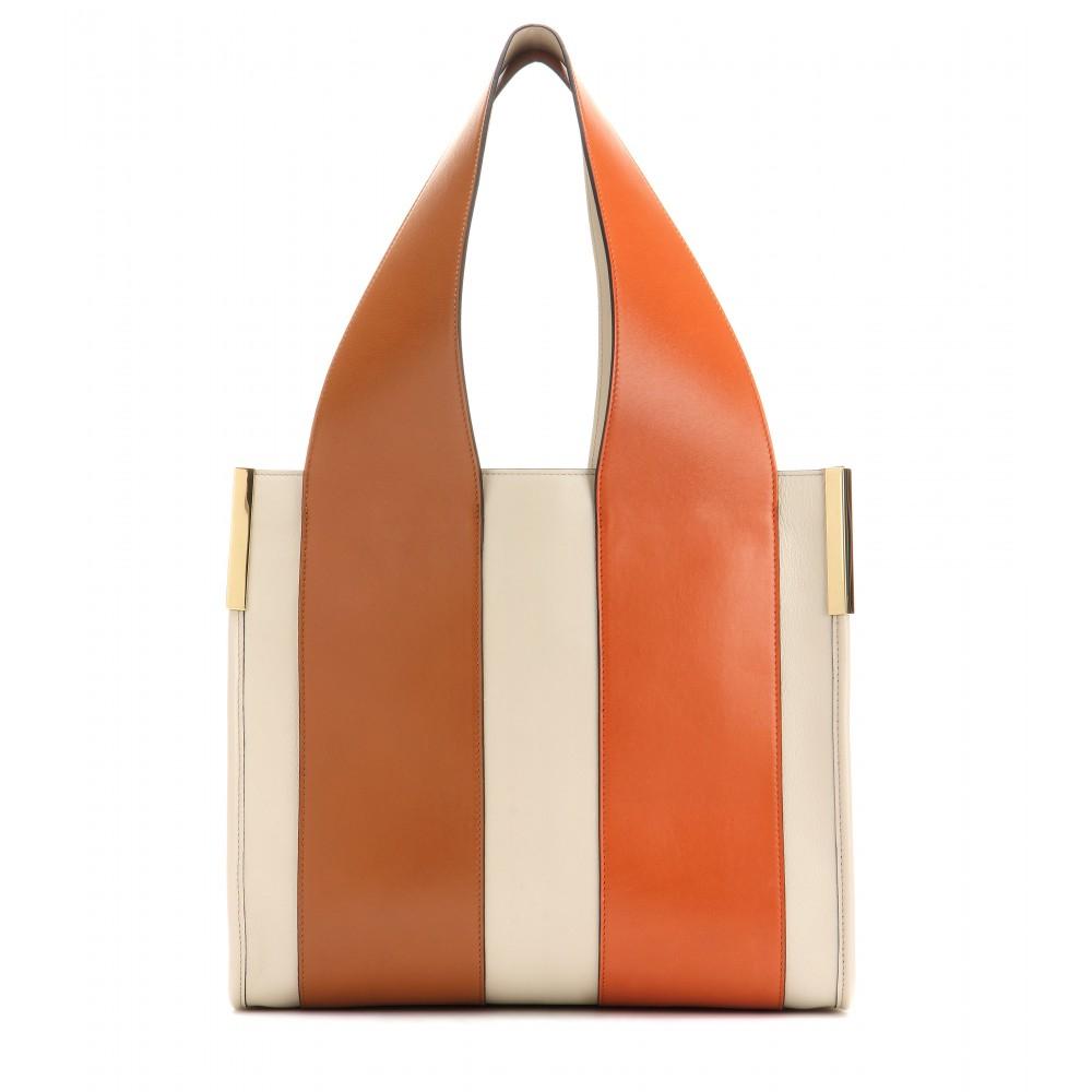 Chloé Beach Bag Leather Shopper in White | Lyst
