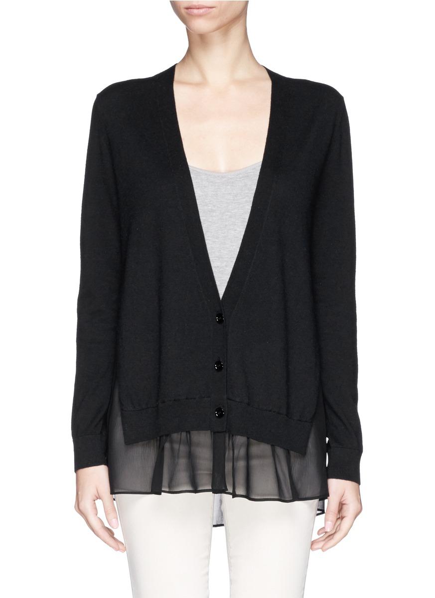 Theory 'Haveera' Silk Chiffon Insert Knit Cardigan in Black | Lyst