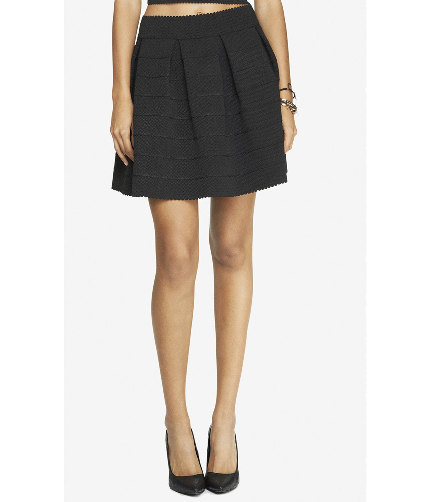 Express High Waist Elastic Full Skirt - Black in Black (PITCH BLACK) | Lyst