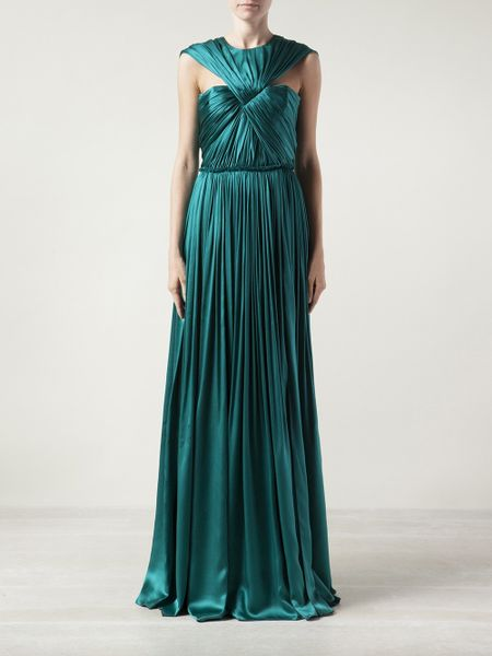 Lanvin Twisted Front Gown In Green Lyst