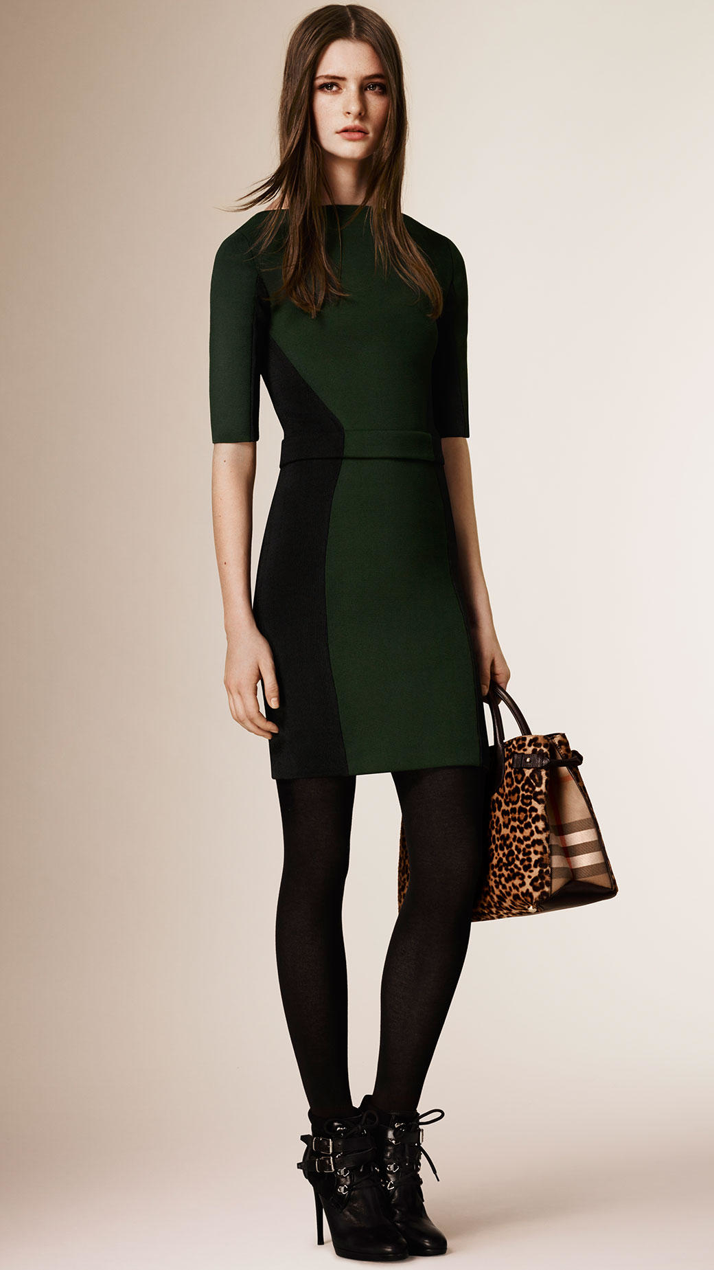 586662be401 Burberry Colour Block Panelled Bodycon Dress in Green - Lyst