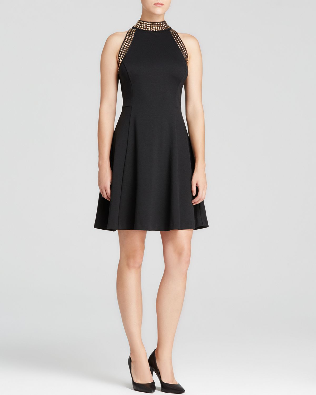 13c8c0808c Lyst - MICHAEL Michael Kors Studded Halter Dress in Black