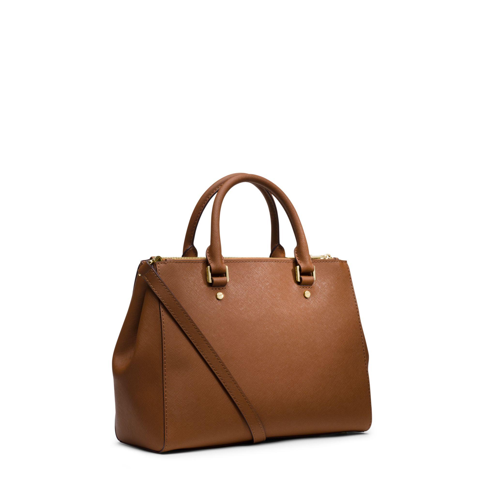 db54fdf1ac8a Lyst - Michael Kors Sutton Medium Saffiano Leather Satchel in Brown