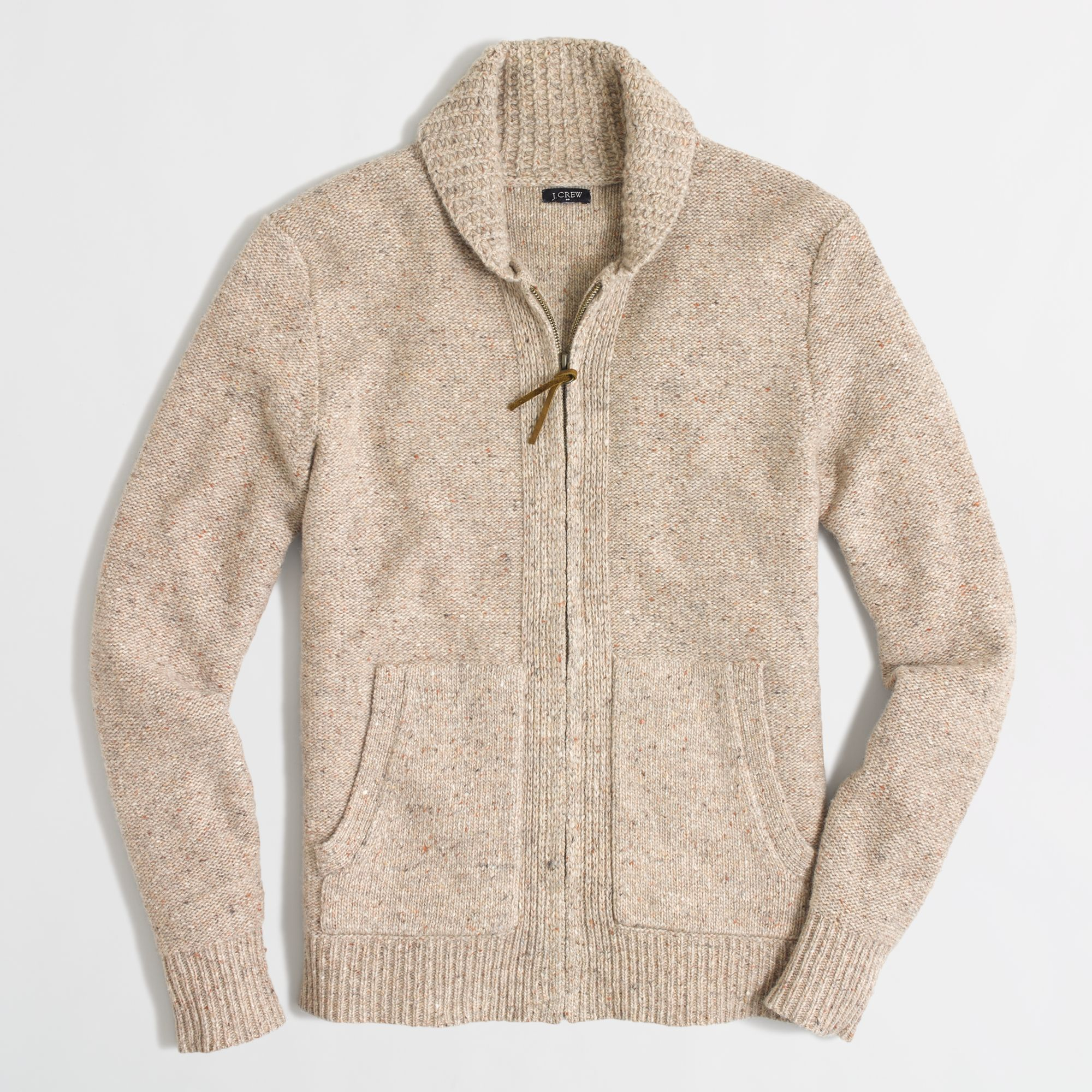 Jcrew Factory Donegal Full Zip Cardigan In Natural For Men Lyst