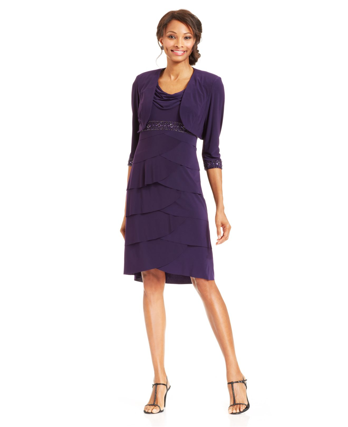 85d09ed8913 Lyst - Alex Evenings Petite Beaded Cowl-Neck Dress And Jacket in Purple