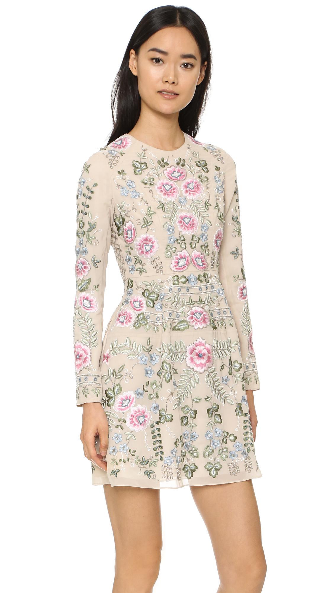 Needle thread rose beige embroidered mini dress lyst