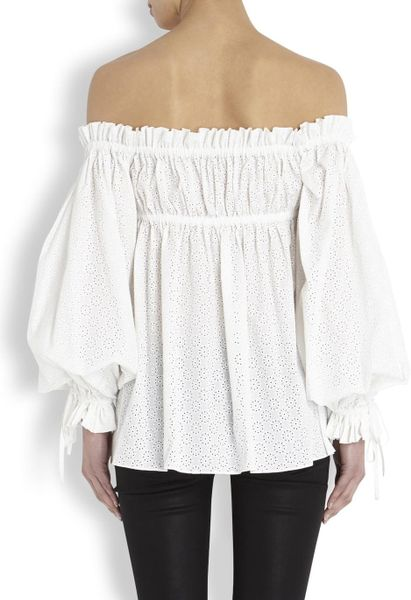 alexander mcqueen broderie anglaise cotton blouse in white. Black Bedroom Furniture Sets. Home Design Ideas