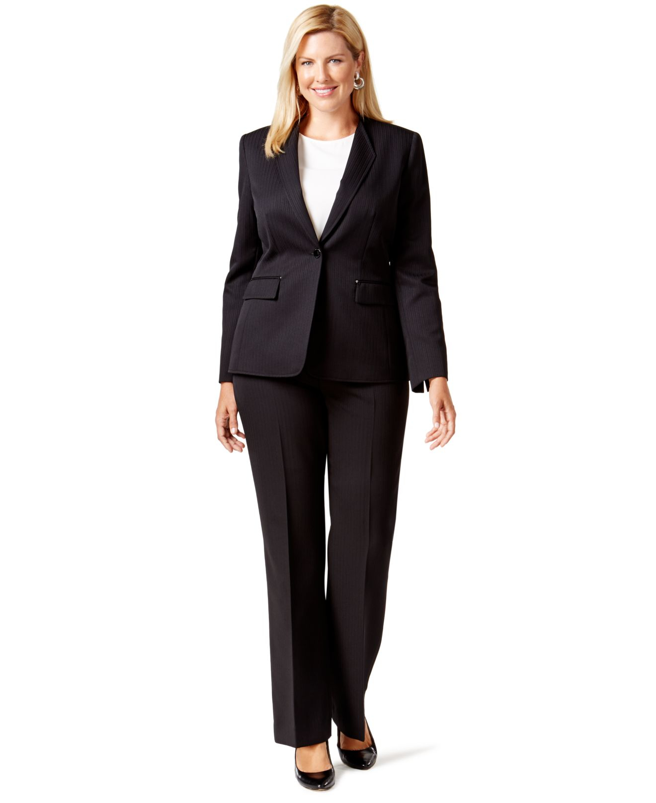 tahari plus size one button pinstriped pantsuit in black lyst gallery