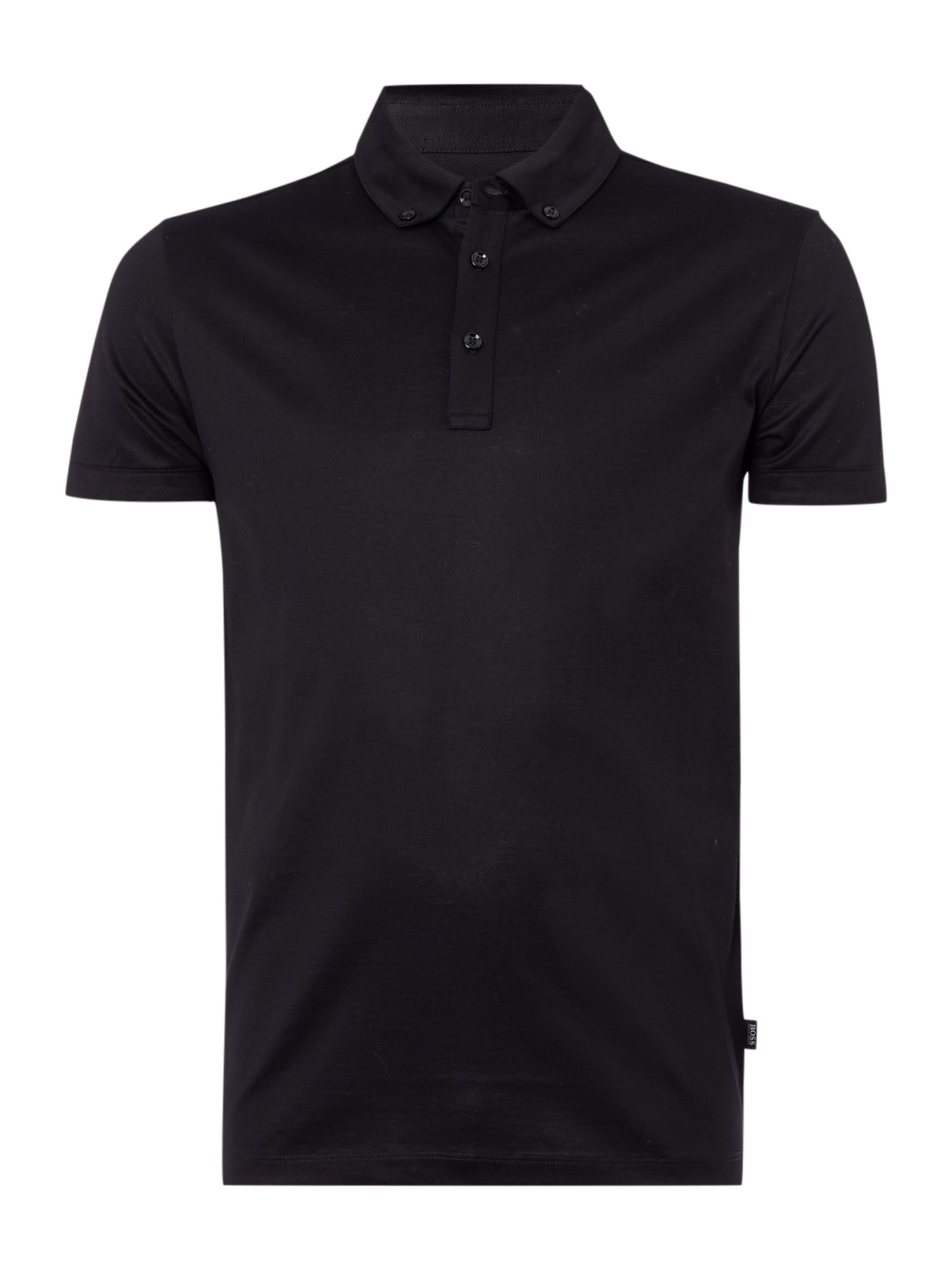 Lyst boss rapino 49 plain polo regular fit polo shirt in for Black fitted polo shirt