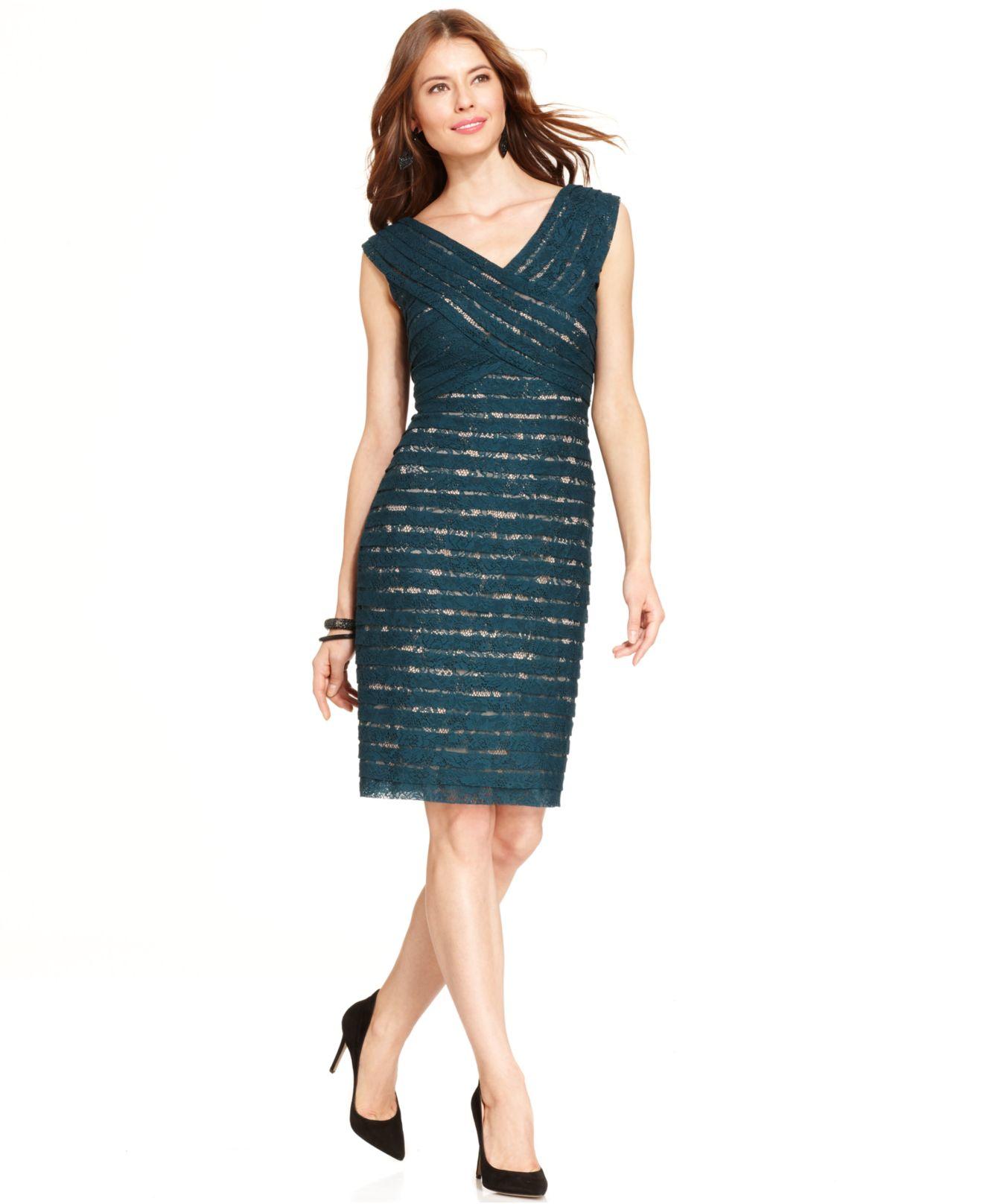 Lyst Adrianna Papell Sleeveless Shutter Pleat Lace Dress