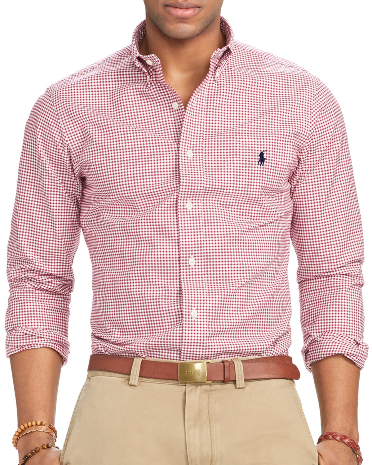 ralph lauren polo slim fit checked stretch oxford shirt in purple for. Black Bedroom Furniture Sets. Home Design Ideas