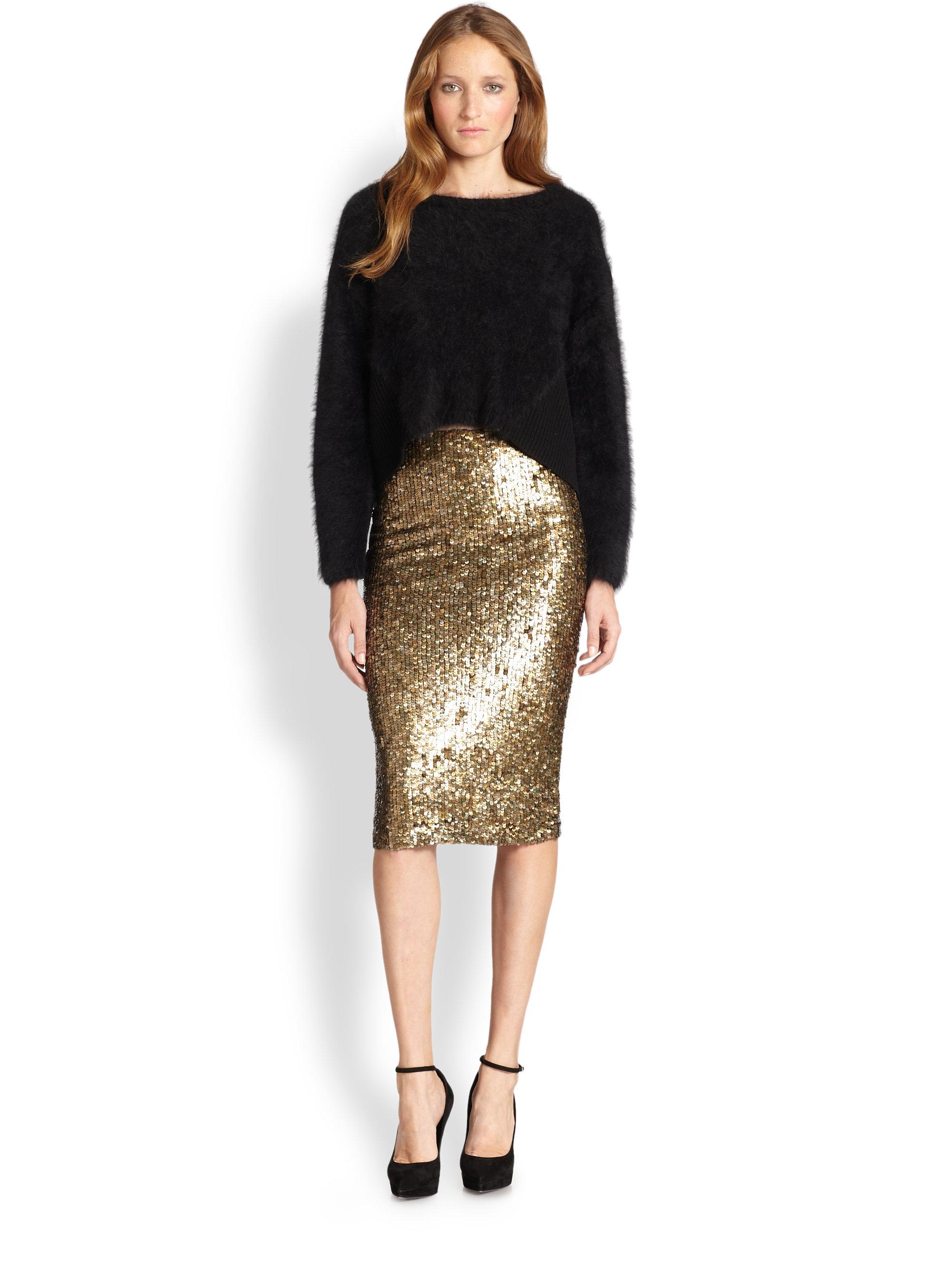 Alice   olivia Bryce Metallic Sequin Pencil Skirt in Metallic | Lyst