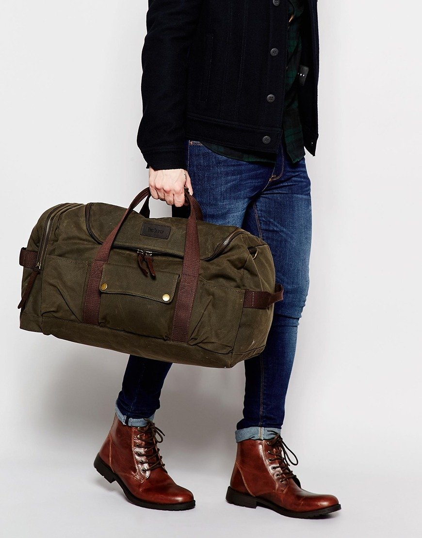 Barbour Waxed Cotton Holdall In Brown For Men Lyst