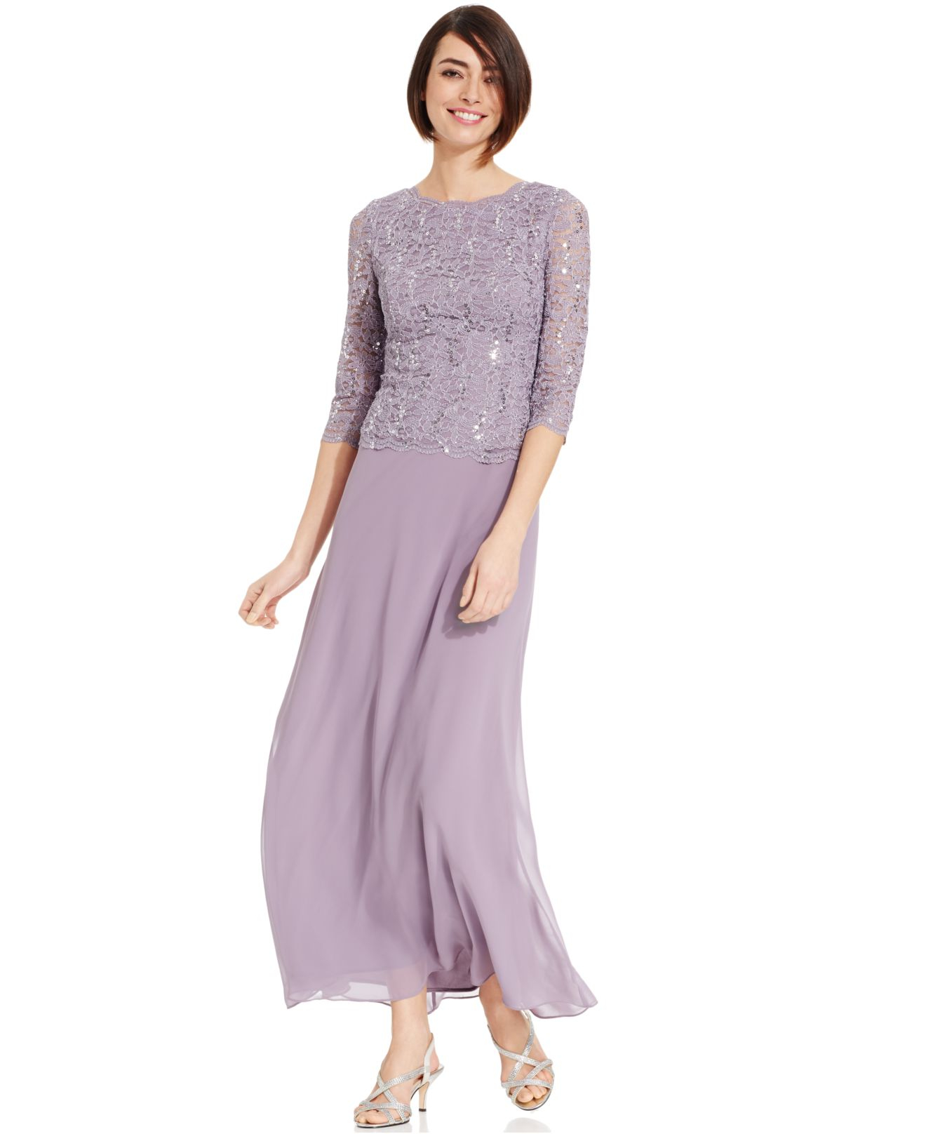 037dc791616 Alex Evenings Petite Elbow-sleeve Sequin Lace Gown in Purple - Lyst