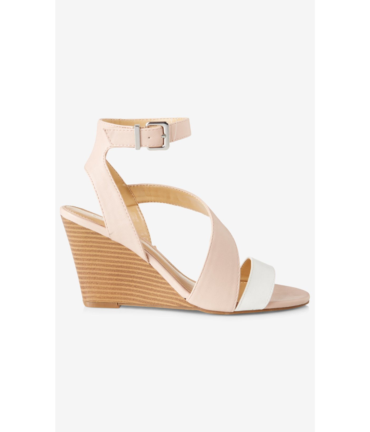 ef486a323f8 Lyst - Express Color Block Asymmetrical Low Wedge Sandal in Pink