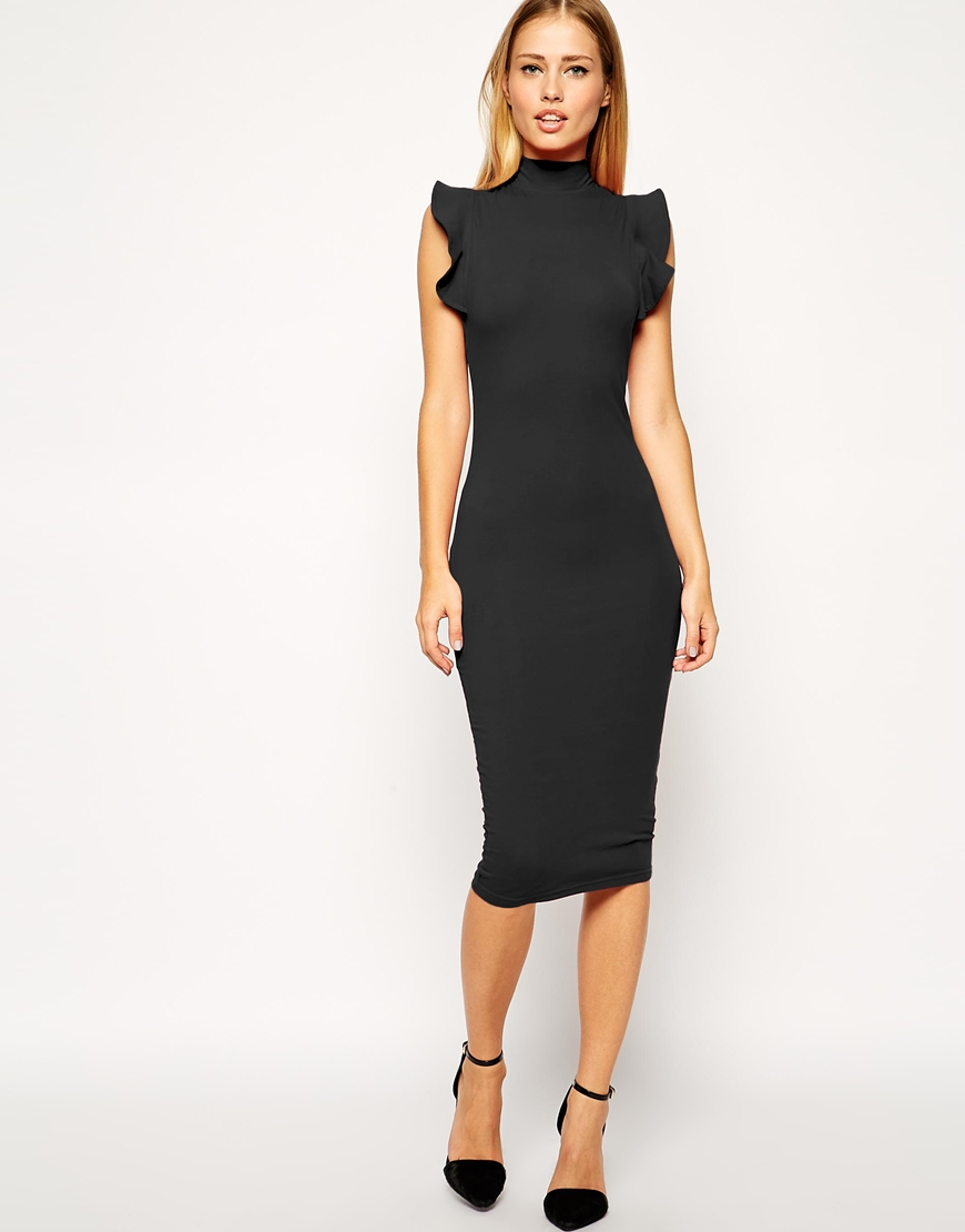Asos Midi Bodycon Dress With High Neck And Frill Sleeve in Black ...