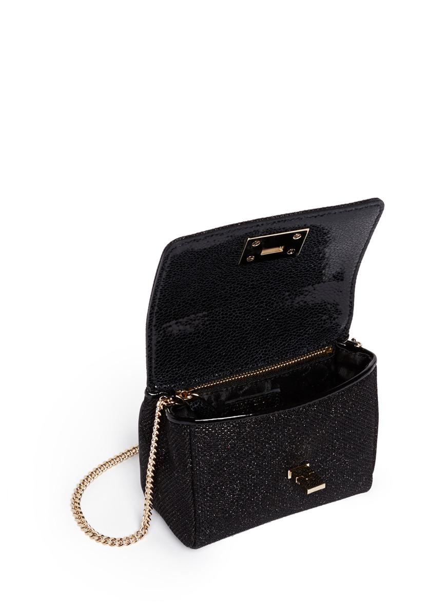 ca45c04082 Jimmy Choo 'ruby' Mini Lamé Glitter Chain Bag in Black - Lyst