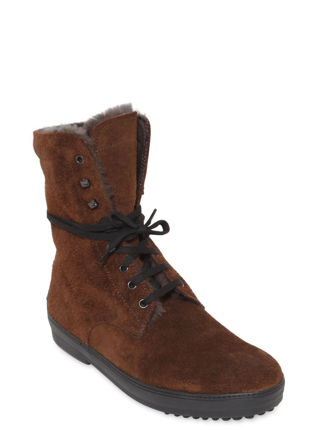 112a126333f Tod s Shearling Lace-Up Boots in Brown for Men - Lyst