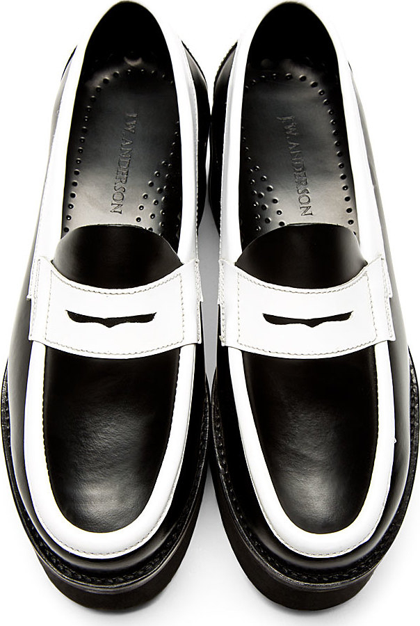J.w.anderson Black and White Leather Platform Penny ...