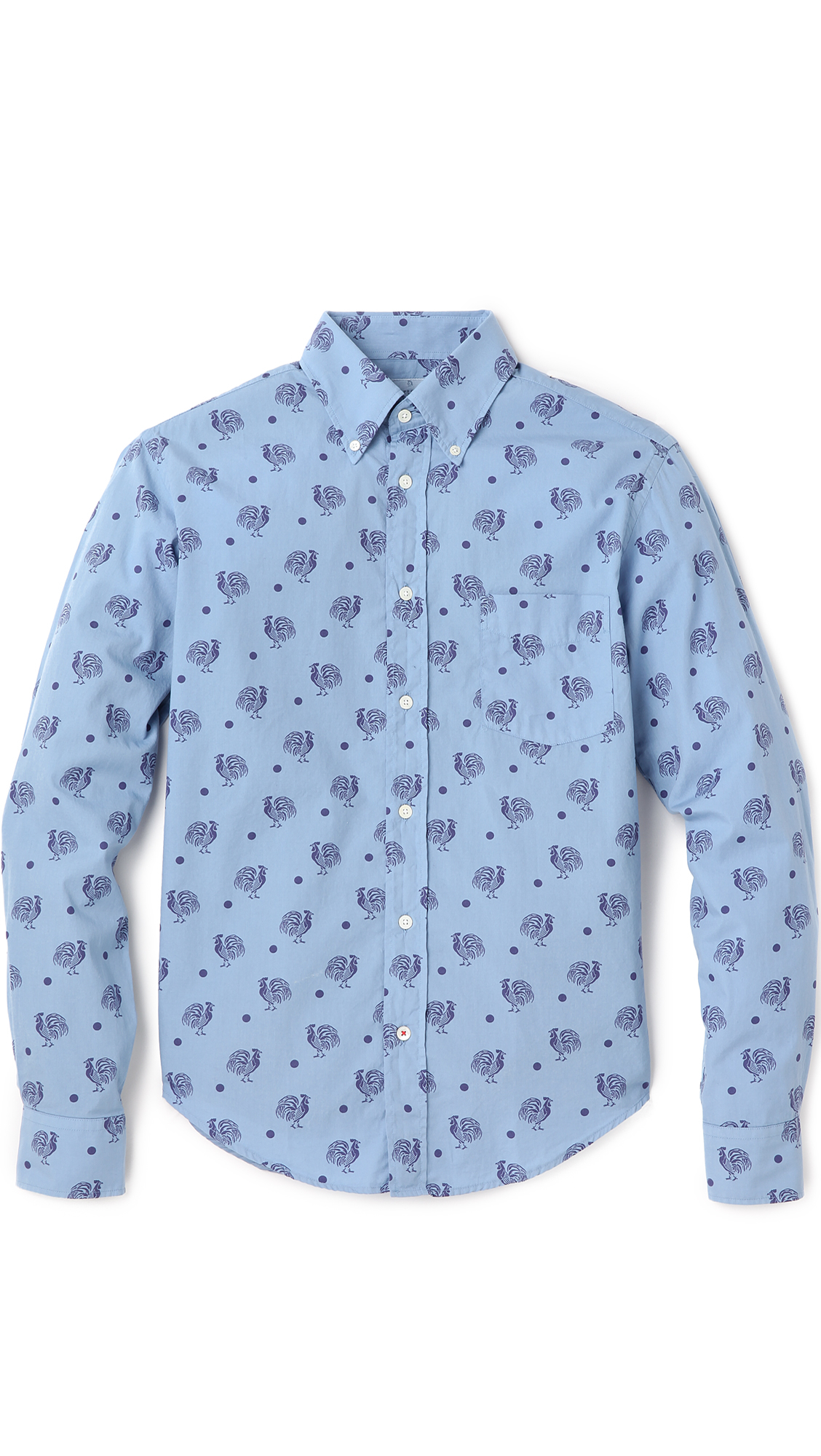 Hartford overdye rooster print shirt in blue for men lyst for T shirt printing hartford ct