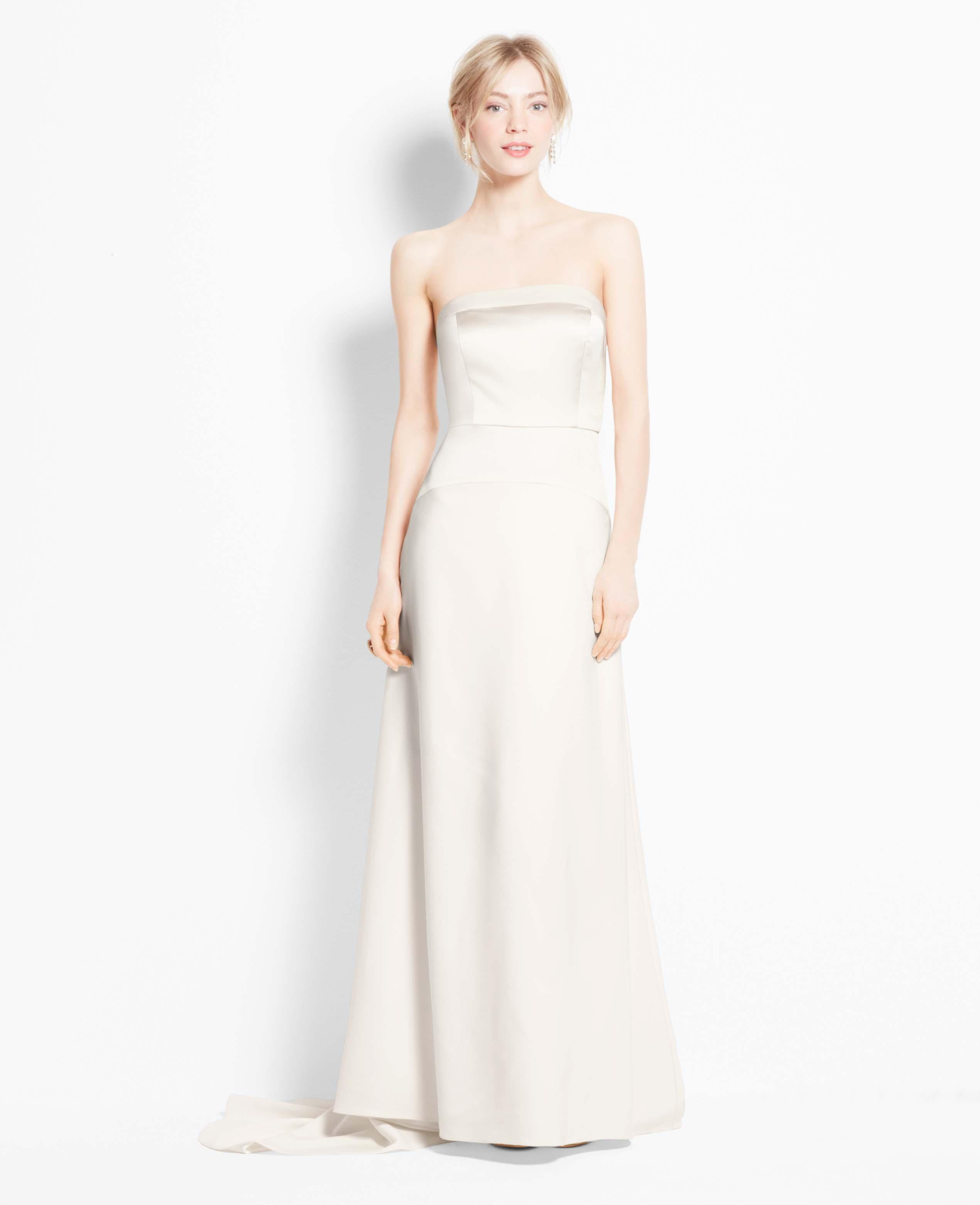 Ann taylor petite satin bodice strapless wedding dress in white lyst gallery junglespirit Choice Image