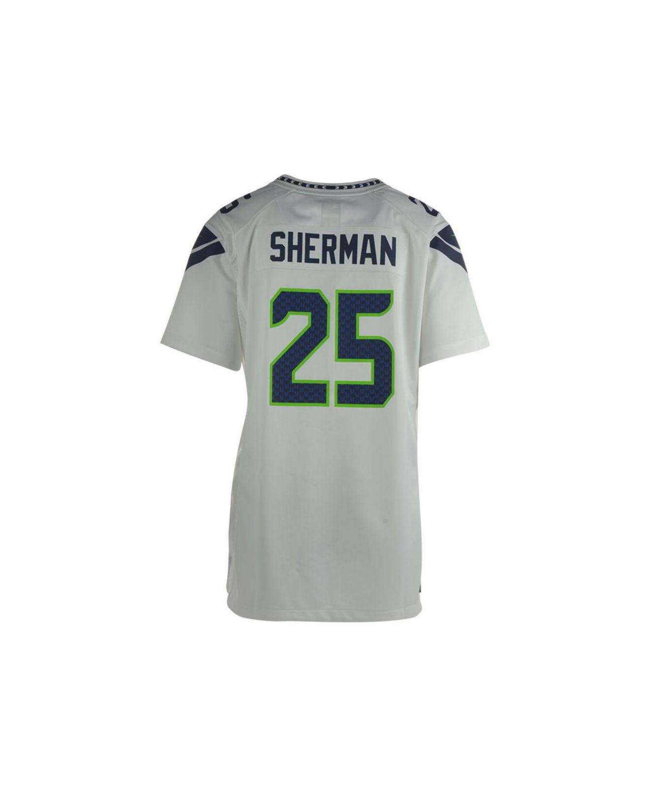 Men Seattle Seahawks Richard Sherman Nike White Game Jersey