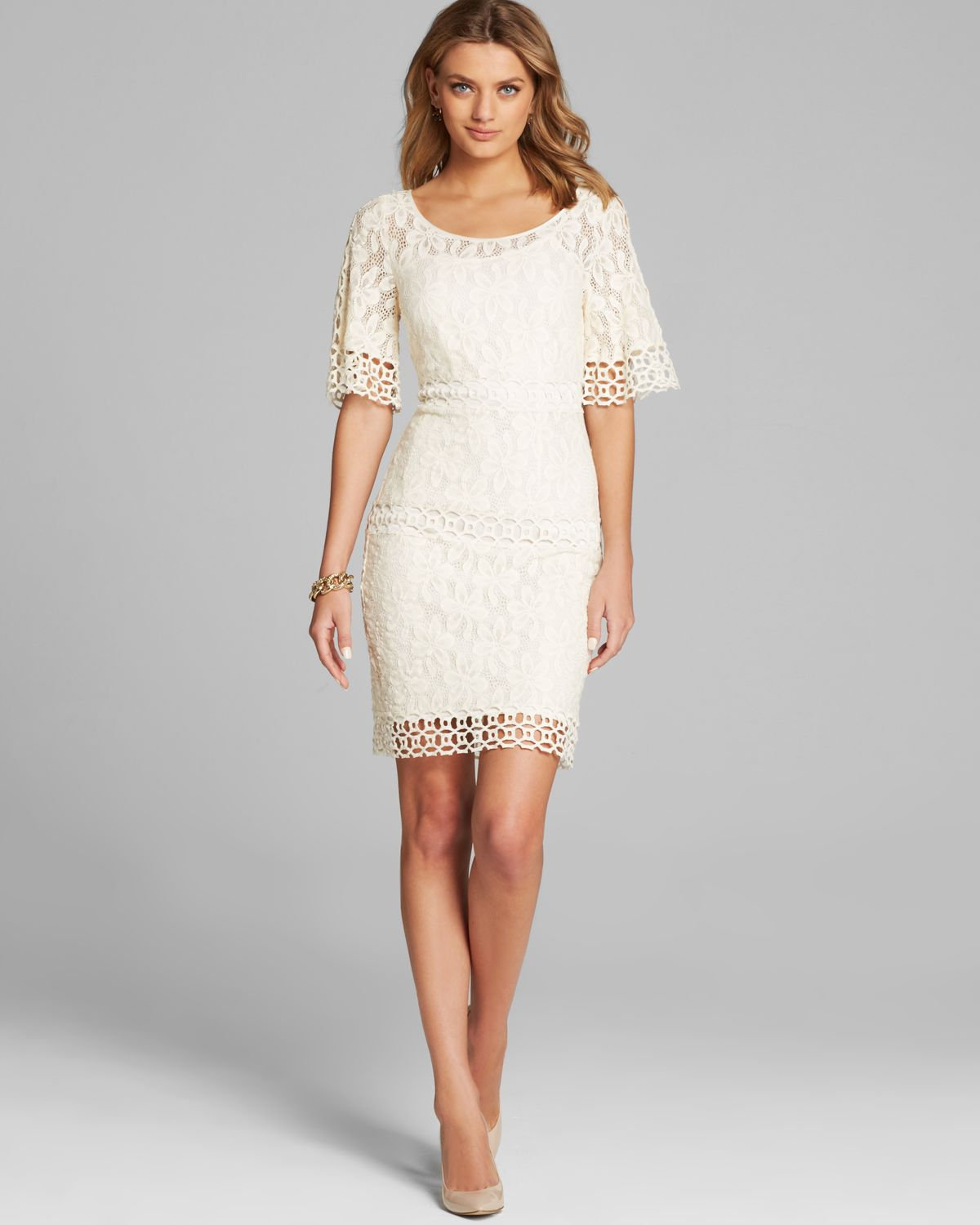 laundry by shelli segal dress bell elbow sleeve lace in