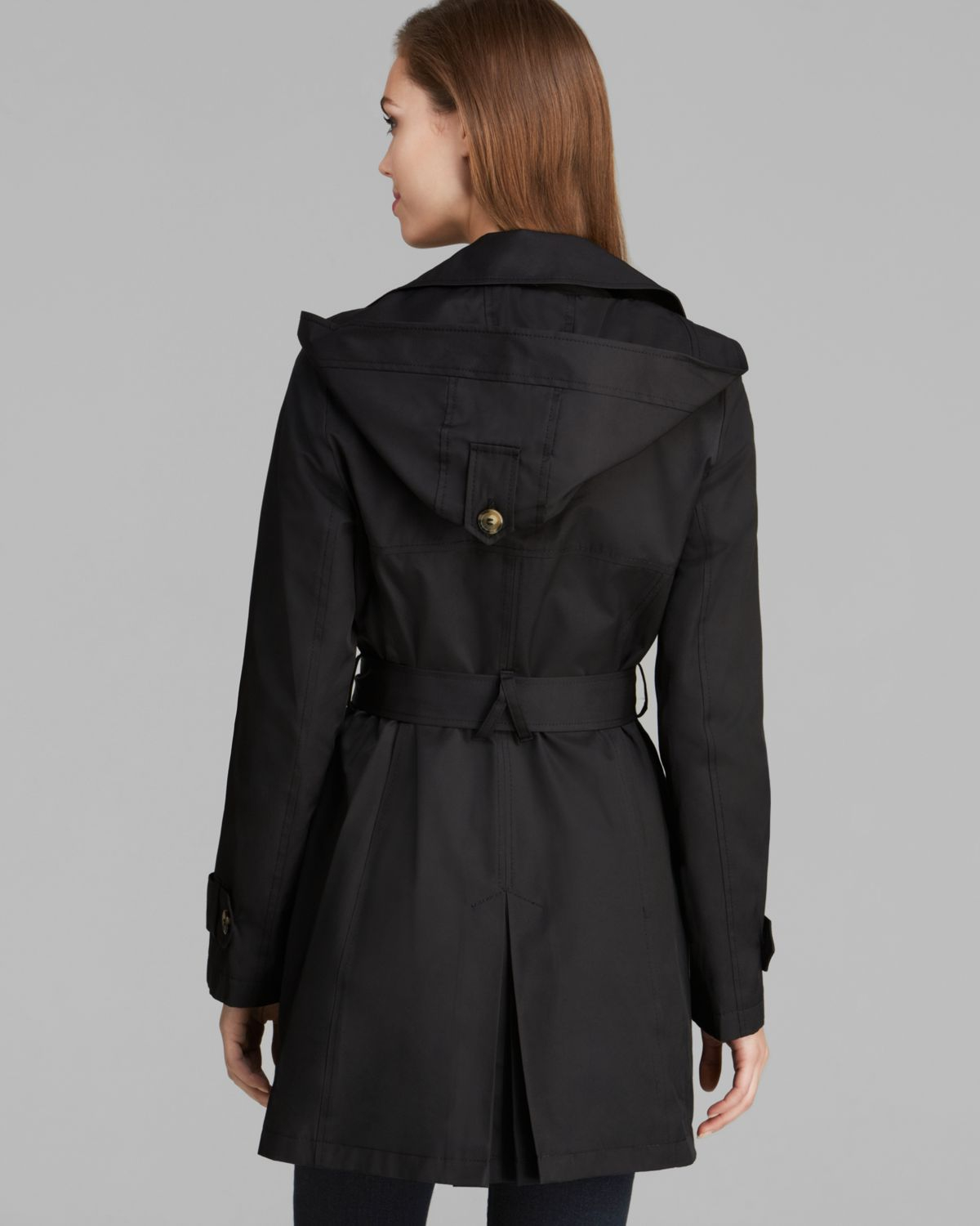 lyst dkny abby hooded trench coat in black