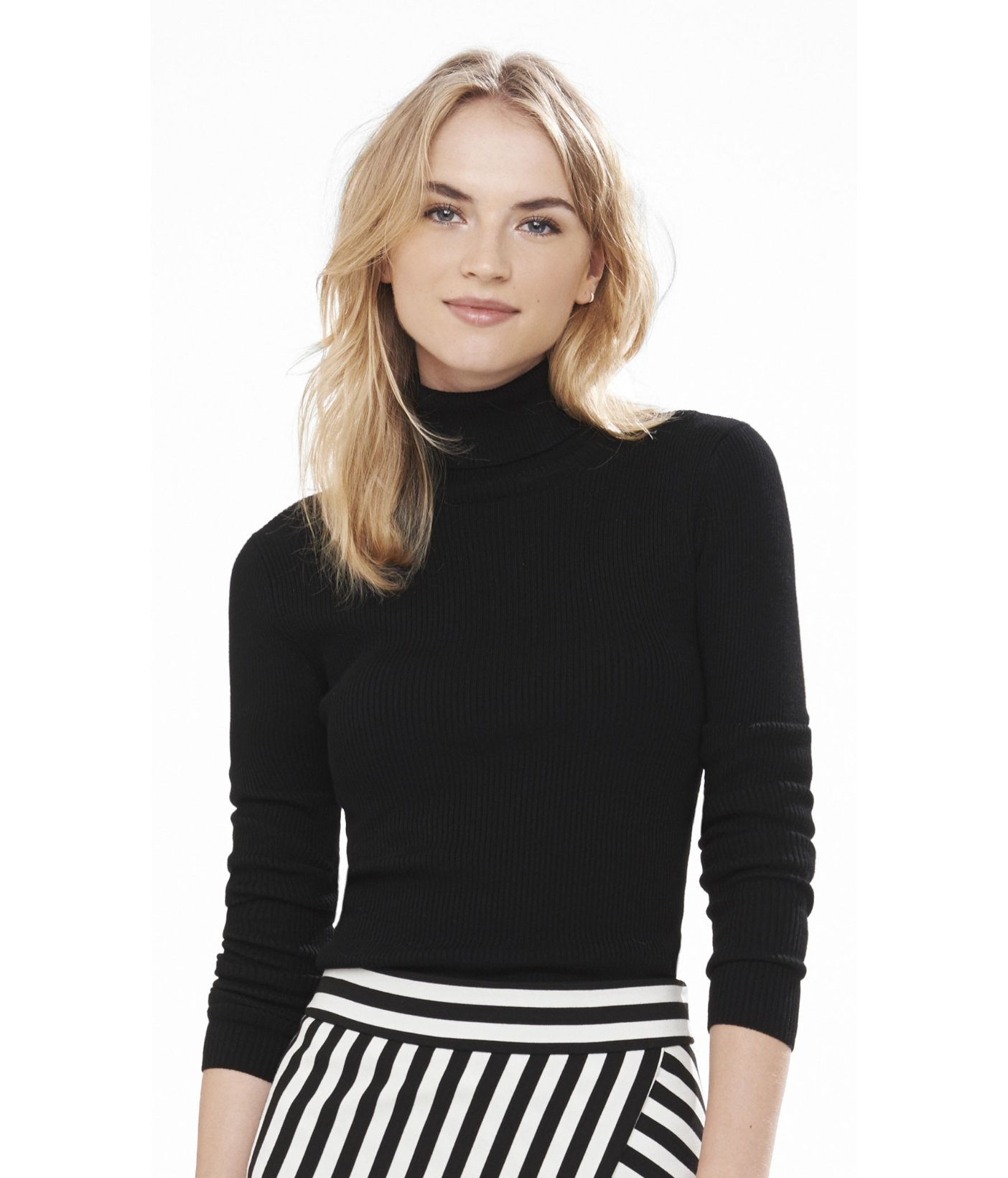 Express Ribbed Turtleneck Sweater in Black | Lyst