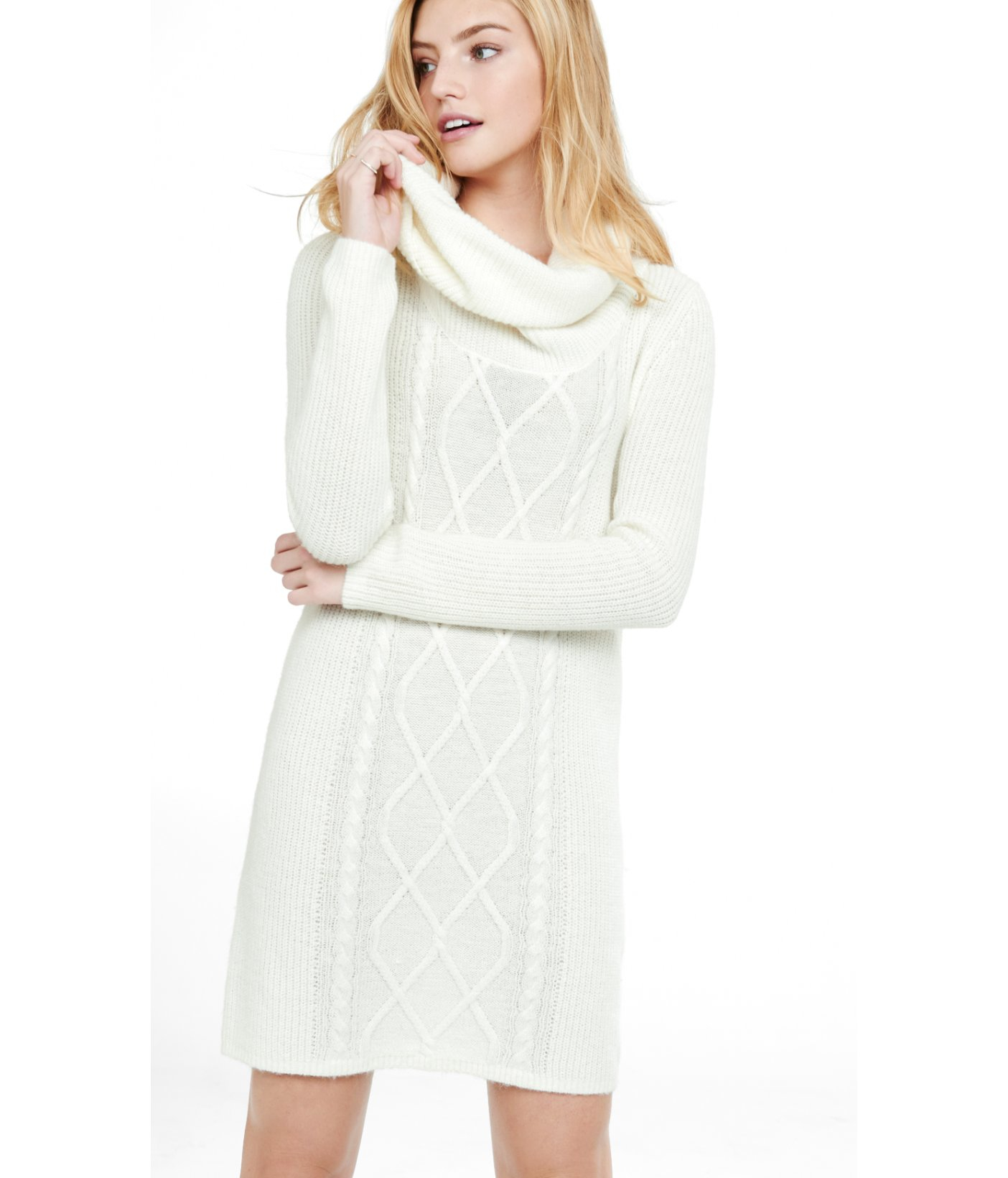 Express Soft Ivory Cowl Neck Mixed Knit Sweater Dress in White | Lyst