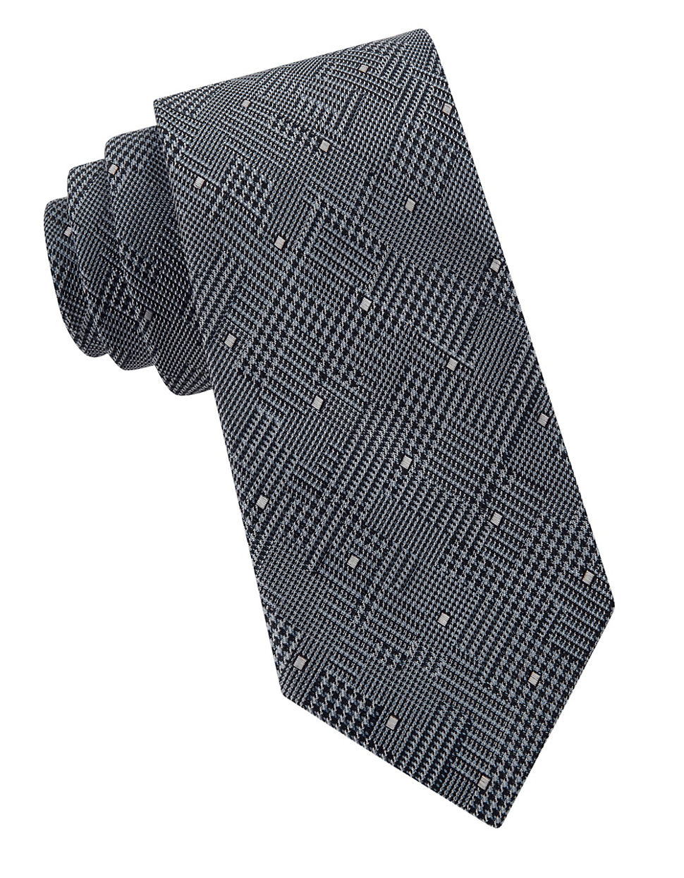 william rast glen plaid dotted tie in gray for lyst