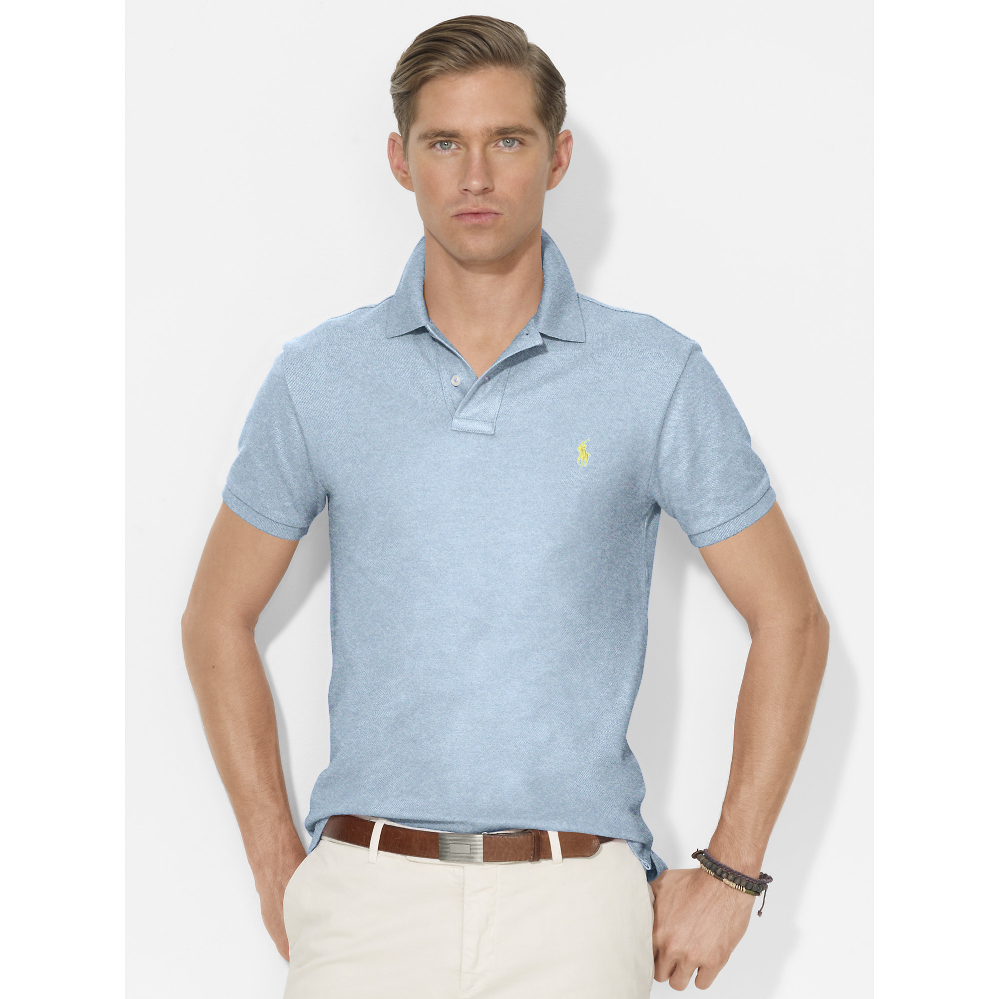 polo ralph lauren slim fit mesh polo in blue for men jamaica heather. Black Bedroom Furniture Sets. Home Design Ideas