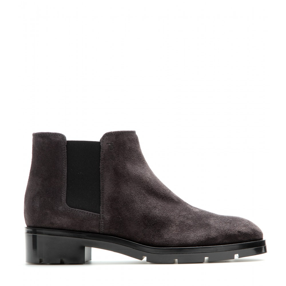 tod s suede chelsea boots in gray lyst